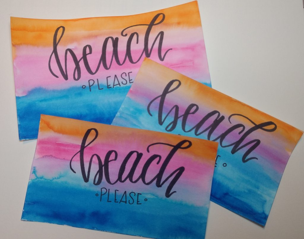 """""""Beach Please"""" watercolor background Tombow Dual Brush Pens"""