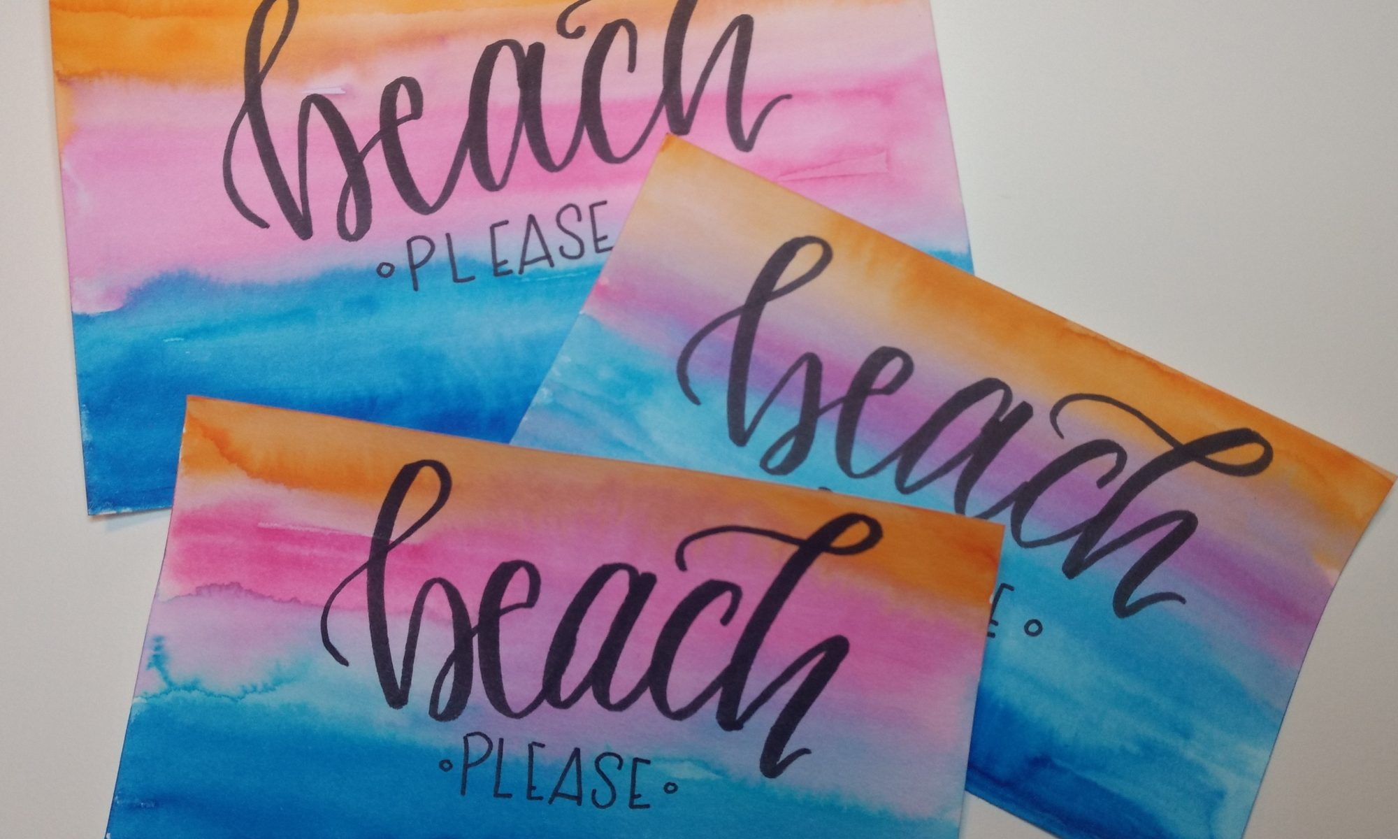 """Beach Please"" watercolor background Tombow Dual Brush Pens"