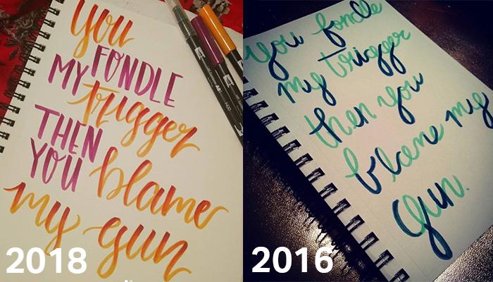 2018 vs 2016 calligraphy